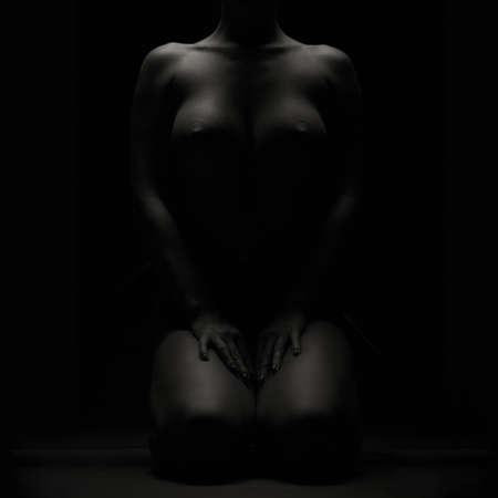 mujeres eroticas: sombras ni�a desnudos arte oscuro con pechos grandes