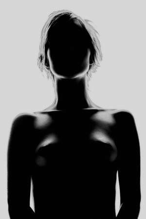 black breast: silhouette nudes attractive glamour girl Stock Photo