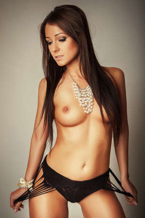 topless brunette: attractive brunette topless girl in black lingerie