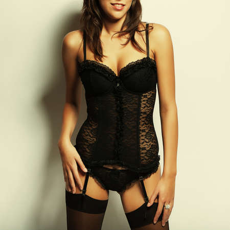 sexy girl with big breasts in black lingerie photo