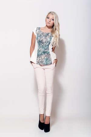 fashion blonde girl, high key scene photo
