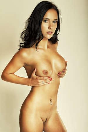 donna nudo: attraente ragazza bruna glamour, bel corpo Archivio Fotografico