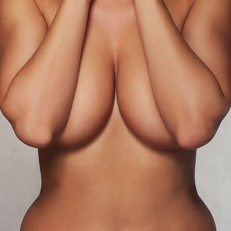 attractive girl torso with natural big breasts