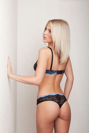blond hair: attractive blonde girl in black lingerie, cute butt