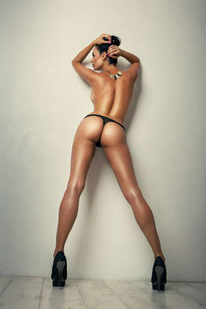 sexy curves girl butt in black panties, without cellulite Stock Photo