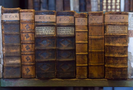 libros antiguos: viejos libros históricos de la antigua biblioteca, estantería de madera Foto de archivo