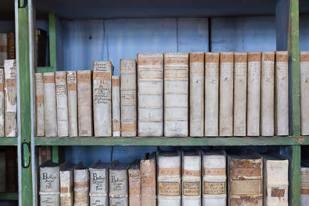 bibliography: historic old books in ancient library, wooden bookshelf