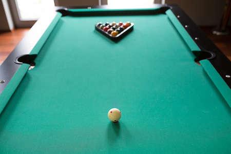 fifteen: start position fifteen ball on green billiard table