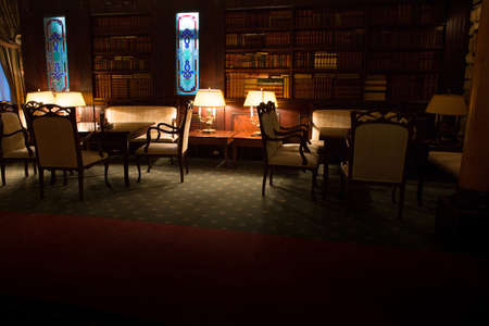old desk: luxury design vintage night club with education library