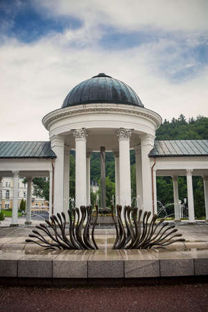 colonnade: monument on colonnade in czech healthy resort