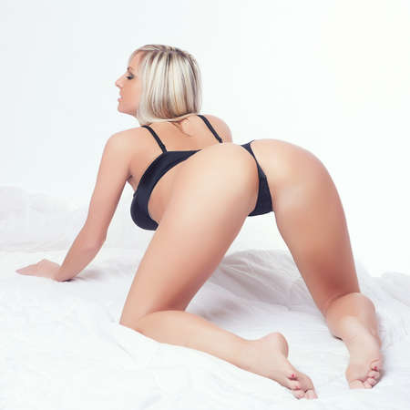lust erotic girl butt in black lingerie