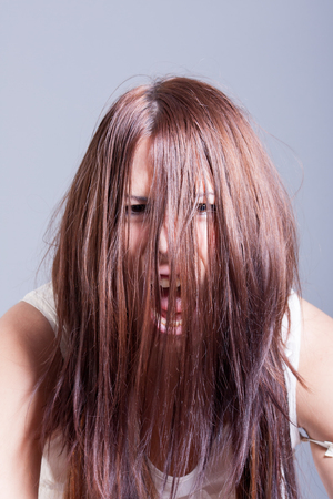 horror portrait of scary woman photo