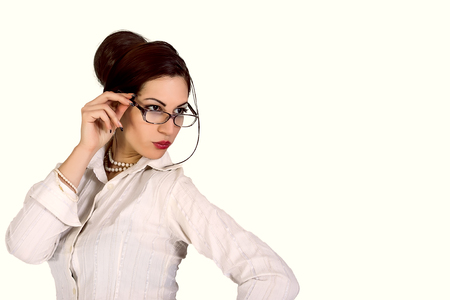 attractive businesswoman with eyeglasses photo