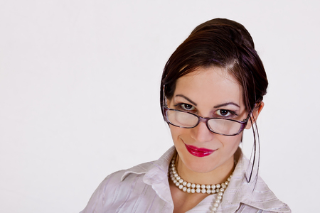 portrait of attractive businesswoman wearing eyeglasses photo