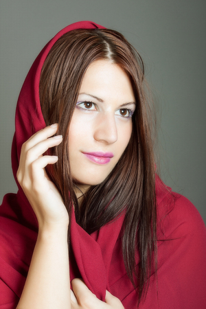 portrait of beautiful woman with a veil photo