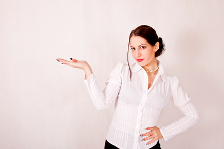 portrait of businesswoman with empty hand photo
