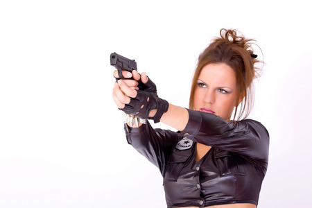 sexy police: portrait of sexy police woman with the gun