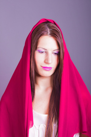 portrait of beautiful woman with veil photo