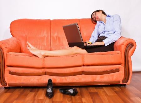 portrait of brunette businesswoman sleeping photo