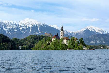 mountain peek: Enjoying near the mountain lake Stock Photo