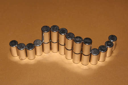 Metal cylinders ordered in the chain, used magnetic cylinders