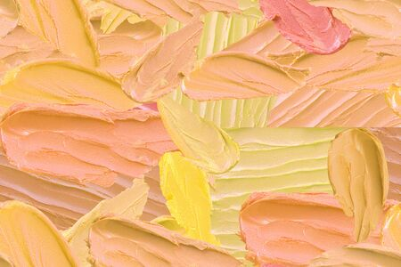 paint strokes pattern background seamless texture many shades of yellow colors, a sample of acrylic paint, oil, painting and creativity 免版税图像