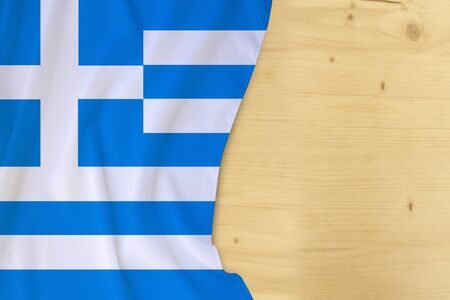 silk colored national flag of Greece country, empty wooden mocap for text, concept of tourism, travel, emigration, global business, independence day