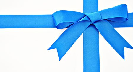 Gift ribbon of blue on white background