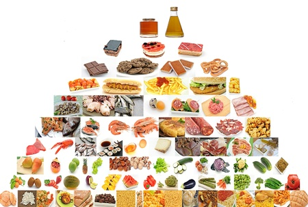 carbohydrates: Food pyramid isolated on white background Stock Photo