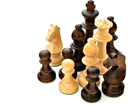 superficial: Chess pieces isolated on white background