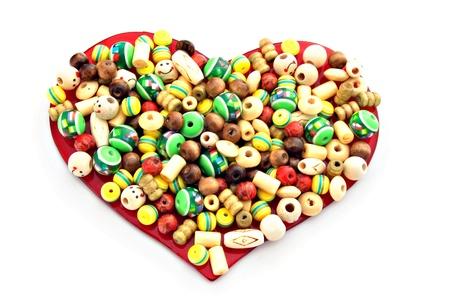 Beaded heart isolated on white background Stock Photo - 9476251