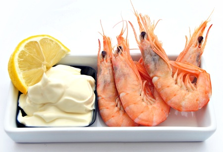 Plate of shrimp with mayonnaise photo