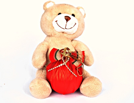Teddy Bear with Christmas Ball photo