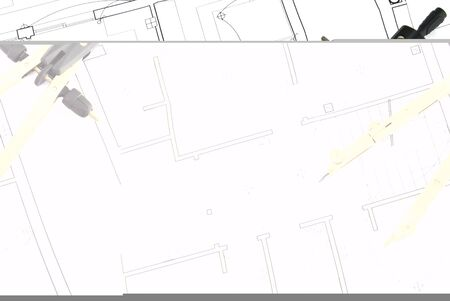 construction draftsman: Compass on a map with details of actions and partitions Stock Photo