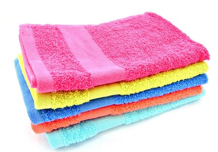 clustered: Towels of various colors surrounded by white