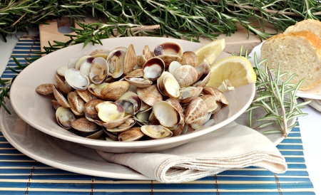 mussel: Clams stacked side by side on a plate served with a slice of lemon and decorated with branches of rosemary Stock Photo
