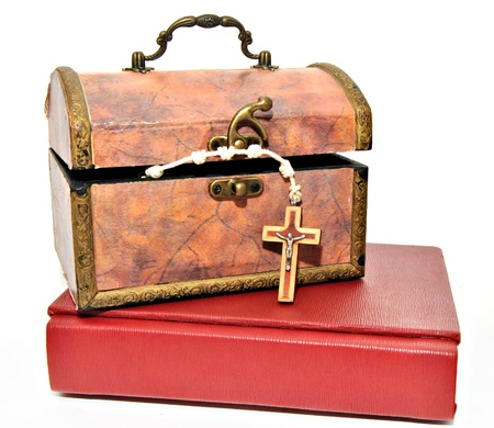 Box with Rosary and Bible, surrounded by white photo