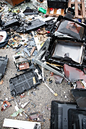 electronica: Garbage piled up next to each other in a vertical landfill Stock Photo