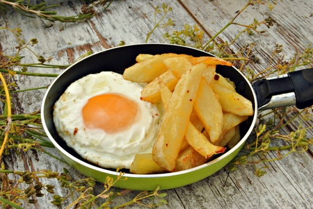teflon: Fried egg with potatoes, served in a pan, rustic background