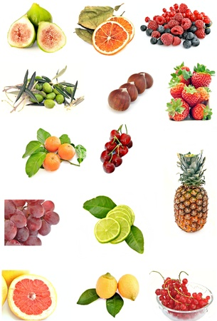 Mural consists of several fruits next to each other surrounded by white background photo
