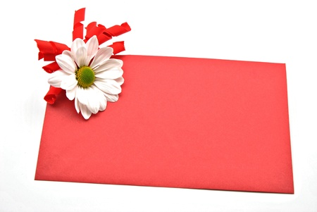 Red card decorated with a daisy surrounded by white background photo