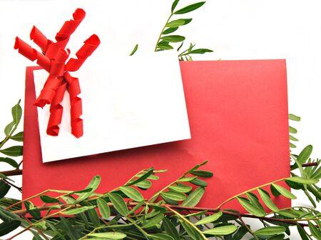 hojas: Card white on red card surrounded by leafy brancheslanca sobre fondo tarjeta roja rodeada de ramas con hojas Stock Photo
