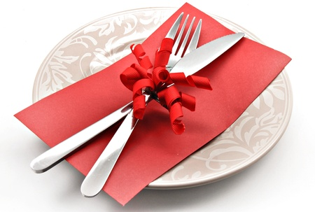 Covered dish and gift card surrounded by white background Фото со стока
