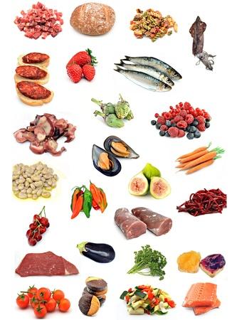 pimientos: Varios alimentos apilados uno junto al otro formando un collage de salud