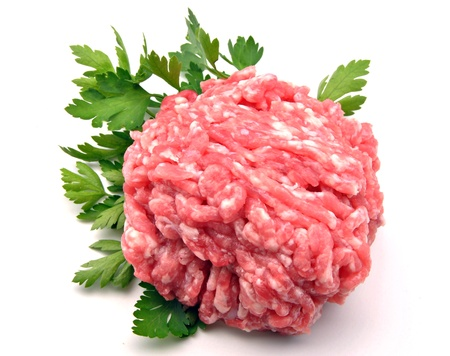 minced meat: Minced meat parsley leaf decorated, surrounded by white background