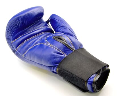 contend: Boxing Glove blue, surrounded by white background Stock Photo