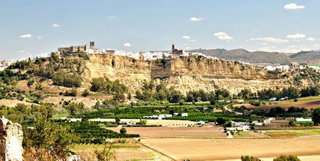 Panoramic view of the town of Arcos de la Frontera located in the Spanish province of Cadiz, on a clear day photo