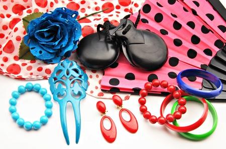 flemish: Flamenco ornaments consisting of fans castanets and bracelets