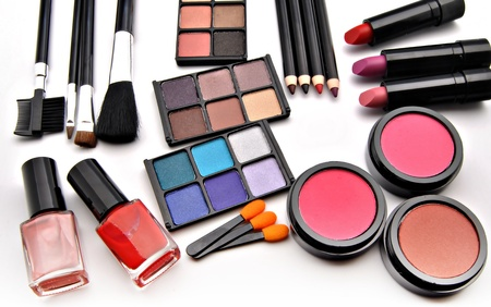 esthetician: Paints for the eyes of various colors placed next to each other with various  pencils and supplies makeup Stock Photo