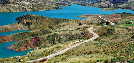Swamp of Zahara de la Sierra in the Spanish province of Cadiz, you can see a road Stock Photo - 12941074